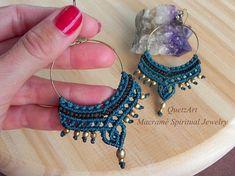 Macrame Hoop Earrings. ANY COLOR Bohemian jewelry. Gypsy