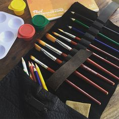 Pencil brush holder leather pencil case with by LUSCIOUSLEATHERNYC