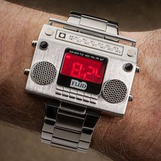 Old School Soundtrack Watches - The Boombox Metal Wristwatch is a Throwback to Retro Beats (GALLERY) Fancy Watches, Men's Watches, Sport Watches, Luxury Watches, Cool Watches, Watches For Men, Wrist Watches, Unusual Watches, Diamond Watches