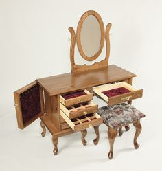 Our Queen Anne Vanity Table is a shorter option than getting the full sized Queen Anne Dressing Table that we offer. This removes one of the drawer units on the right side making it easier to fit into certain rooms. Prepare yourself for a wonderful night out in front of a beautiful hand crafted piece of furniture built by the old world Amish out of Ohio and Indiana.