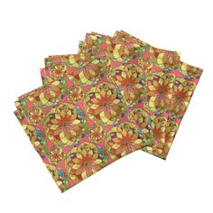 Amarela Dinner Napkins featuring GOLD FLOWER MANDALA PINK RAIN BUBBLES by paysmage | Roostery Home Decor