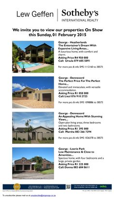 We invite you to view our properties on show this Sunday, 01 February 2015 #Sothebys #Showhouses #Properties