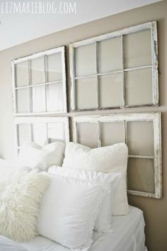 Searching For DIY Headboard Ideas? There are a lot of low-cost ways to create a distinct distinctive headboard. We share a few fantastic DIY headboard ideas, to inspire you to design your room chic or rustic, whichever you choose. Rustic Headboard Diy, Window Headboard, Diy Headboards, Headboard Ideas, Headboard Designs, Antique Headboard, Headboard Art, Antique Windows, Vintage Windows