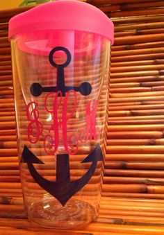 Vino2go personalized wine tumbler Anchor monogram by all4mygirlz, $14.99