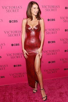 Bella Hadid walked the pink carpet wearing an Atsuko Kudo red latex dress -- Victoria's Secret 2017 Fashion Show, Shanghai -- Viewing Party (New York) -- Gett y Images Elsa Hosk, Latex Fashion, Fashion Models, Sexy Dresses, Nice Dresses, Bella Hadid, Pink Carpet, Carpet Colors, Jasmine Tookes