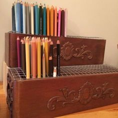 Colored pencil storage - this is a great idea if you use your colored pencils alot Art Supplies Storage, Art Storage, Craft Room Storage, Craft Supplies, Craft Rooms, Marker Storage, Utensil Storage, Stamp Storage, Storage Ideas