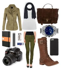"""""""Free your Inner Explorer"""" on Polyvore featuring Timberland, Proenza Schouler, Joe's Jeans, M&Co, LE3NO, Paul Smith, Nikon, Chronicle Books, Faber-Castell and Pentel"""