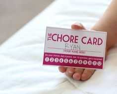 Chore Card- Get 12 punches and trade in for a surprise. Love this idea. Could use this with students for several purposes!