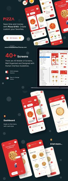 PIZZA App UI Kit - iOS UI/UX Design for Pizza delivery App. Order food is much easier with an App. You can customize your pizza. Here I tried to design the UI Pizza Delivery App, Online Pizza, Human Interface Guidelines, Ios Ui, Order Food, Ui Kit, Mobile Ui, Ux Design, Screens