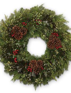 Wreath of Fresh Evergreen - Calyx Flowers, Inc Calyx Flowers, Christmas Wreaths, Xmas, Wreath Hanger, Seeded Eucalyptus, Red Berries, Fresh Green, Wreath Ideas, Pine Cones