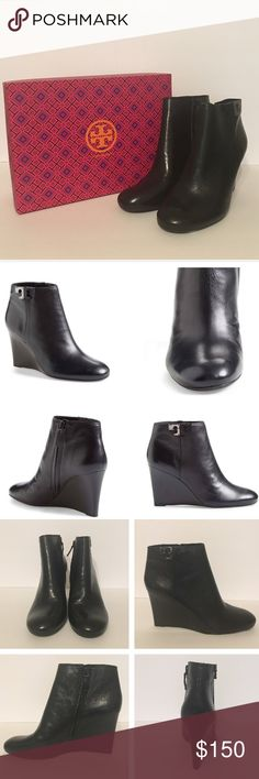 """NIB Tory Burch Lowell Leather Wedge Bootie (Black) NIB Tory Burch Lowell Wedge Bootie. Color: Black. Size: 9. A two-tone """"T"""" stands for Tory at the ankle of a sleek leather bootie styled with a classic round toe and trend-right stacked wedge heel. Come with box and dust bag. Enjoy!❤❤❤ Tory Burch Shoes Ankle Boots & Booties"""