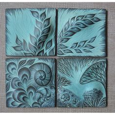 Handcrafted tile murals, backsplshes, tree of life tiles, vessels and more from Natalie Blake Studios. Clay Tiles, Ceramic Wall Tiles, Ceramic Clay, Ceramic Pottery, Lino Art, Collage Techniques, Tile Murals, Ideas Geniales, Sgraffito