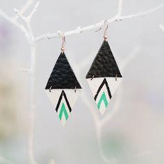 triangle geometric leather earrings  / navajo. $12.00, via Etsy.