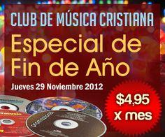 Con el sólo deseo de seguir siendo de bendición ponemos a tu disposición el Club de Música, con el cual puedes descargar 3 CDs completos de Música Cristiana todos los meses por USD $4.95!