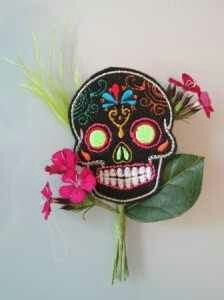 Sugar skull wedding, Flower sub, Groom, Groomsmen, Pink Flowers. Google Image search.
