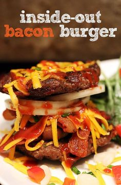 "Inside Out Bacon Burger Shared via www.me This is why low carb/Keto is the best ""diet"" ever. Keto Burger, Burger Recipes, Beef Recipes, Low Carb Recipes, Healthy Recipes, Recipies, Inside Out Burger, Think Food, Ketogenic Recipes"