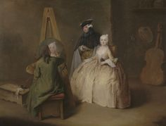 """PAINTER. """"The Painter in His Studio,"""" Pietro Longhi, about 1741-1744. Longhi invites the viewer into a painter's studio, where the artist, surrounded by an array of his tools and props, creates a faithful likeness of a typical Venetian lady sitting for her portrait."""