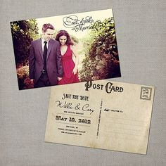vintage postcard - save the date