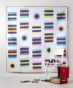 Sweet Pastels quilt by Angie Wilson for Love Patchwork & Quilting issue 22 (Licorice Allsorts) - tutorial for matching cushions