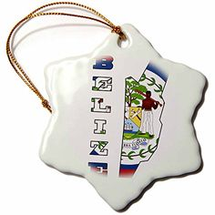 3dRose orn_55482_1 The Flag of Belize in The Outline Map and Name of The Country of BelizeSnowflake Ornament Porcelain 3Inch ** This is an Amazon Affiliate link. For more information, visit image link.