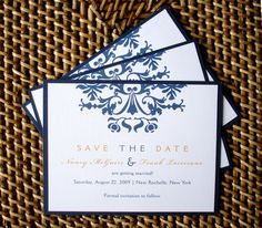Wedding Save the Date card - Brocade Linen and Metallic Navy blue and gold  layered card. $1.65, via Etsy.