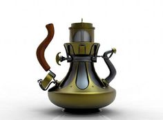 Steampunk Teapot - comes with a temperature gauge, a spout cover and a percolation window.