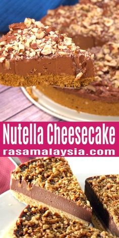 Nutella Cheesecake easy no-bake cheesecake loaded with Nutella and hazelnut. Creamy rich the best Nutella Cheesecake recipe ever by Nigella Lawson. The post Nutella Cheesecake appeared first on Dessert Platinum. Easy Cake Recipes, Easy Desserts, Cookie Recipes, Delicious Desserts, Dessert Recipes, Desserts Nutella, Nutella Cake, Health Desserts, Best Nutella Cheesecake Recipe