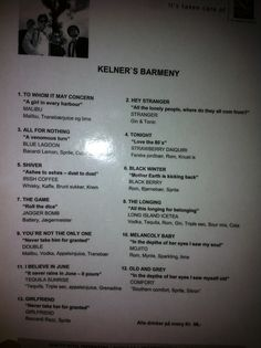 Went to a concert with the band Kelner, where the song list was presented as a bar menu. Bar Menu, Song List, Bacardi, Gin And Tonic, Songs, Band, Concert, Sash, Bacardi Cocktail