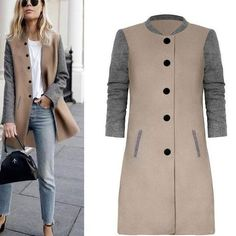 2018 New Spring Autumn Coat Long Sleeve Two Color Patchwork Jacket Buttons Long Coat Slim StreetWear Female Outwears Woolen Coat Long Wool Coat, Long Coats, Women's Coats, Fall Coats, Trench Coats, Jacket Buttons, Look Cool, Models, Types Of Sleeves