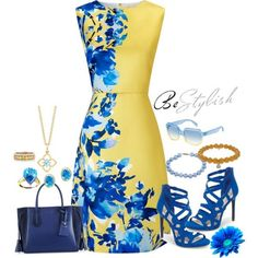 Beautiful Blue and Yellow Dress by snowflakeunique on Polyvore featuring Precis Petite, Jessica Simpson, Longchamp, Sydney Evan, DaVonna, Effy Jewelry, Bayco and Marc by Marc Jacobs