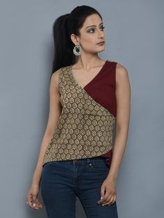 Brown Beige Cambric Cotton Achkan Short Top Short Kurti Designs, Simple Kurti Designs, Kurta Designs Women, Blouse Designs, Trendy Tops For Women, Kurti Designs Party Wear, Short Tops, Fashion Pants, Casual Outfits