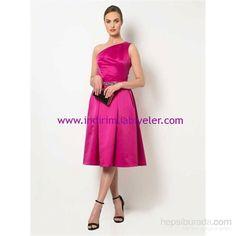 Roman fuşya saten abiye elbise