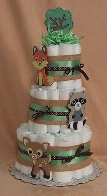3 Tier Diaper Cake Woodland Forest Friends Clever Fox Baby Shower Centerpiece