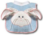 Bunny Bib - Bib and washcloth all in one.  Pattern and instructions included.