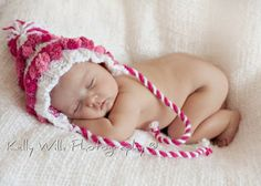 Baby girl hat newborn to 6 months photography props hot pink Available in blue and white. $25.99, via Etsy.