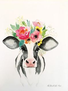 Miranda the Cow PRINT, floral cow, floral crown cow - and limited edition original watercolor print on card stock - Watercolor Print, Watercolor Flowers, Watercolor Paintings, Tattoo Watercolor, Cow Painting, Painting & Drawing, Drawing Artist, Arte Inspo, Cow Art