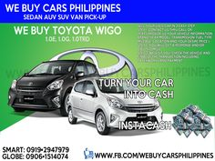 We Buy Used Toyota Wigo Philippines  Contact numbers: SMART: 0919-294-7979 GLOBE: 0927-956-2590 / 0906-151-4074  We Buy Toyota Innova 2.5 VDsl A/T  We Buy Toyota Innova 2.0 VGas A/T  We Buy Toyota Innova 2.5 GDsl A/T  We Buy Toyota Innova 2.0 GGas A/T  We Buy Toyota Innova 2.5 GDsl M/T  We Buy Toyota Innova 2.0 GGas M/T  We Buy Toyota Innova 2.5 EDsl A/T  We Buy Toyota Innova 2.0 EGas A/T  We Buy Toyota Innova 2.5 EDsl M/T  We Buy Toyota Innova 2.0 EGas M/T  We