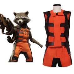 Guardians of the Galaxy Rocket Raccoon Orange Outfit Cosplay