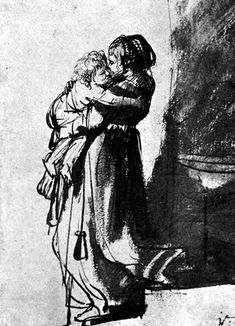 Saskia Carrying Rumbartus Down Stairs by Rembrandt van Rijn.    threepennyreview.com