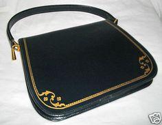 Vintage 50 60s Handbag Navy KELLY Bag Classic Grace Kelly Mad Man Jackie O Pocketbook Purse
