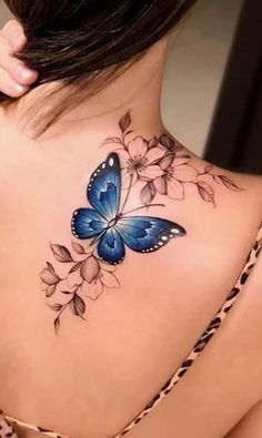 Colorful Butterfly Tattoo, Butterfly Tattoo On Shoulder, Butterfly Tattoos For Women, Realistic Butterfly Tattoo, Butterfly Tattoo Meaning, Butterfly Mandala Tattoo, Watercolor Butterfly Tattoo, Rose Tattoo On Back, Butterfly Tattoo Designs