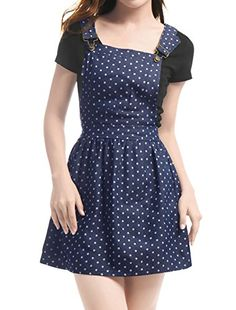 c43b4d460f4 Allegra K Women s Dots Pattern Denim Overall Dress XS Dar... https