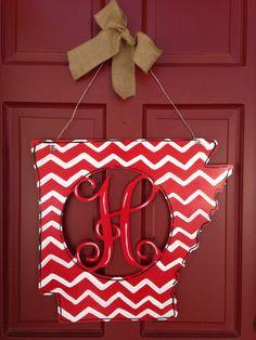 State Monogram Door Hanger on BourbonandBoots.com #arkansas