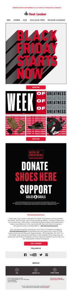 5c34470c69c Foot Locker - Grotendeels visuele Black Friday e-mail. Het thema is 'Week