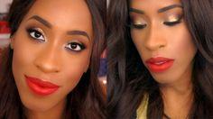 PROM Makeup Tutorial 2016| Dark Skin| Glitter Eyes| Bold Lips