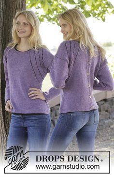 """Gebreide DROPS trui of vest met valse patentsteek, kantpatroon en knopen op het achterpand van """"Karisma"""". Maat: S - XXXL. ~ DROPS Design"""