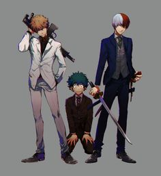 Boku no Hero Academia || Katsuki Bakugou, Midoriya Izuku, Todoroki Shouto.