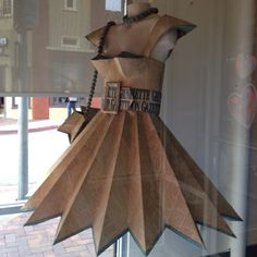 Newspaper dress!. Could do this with card board to make sure the points stay straight