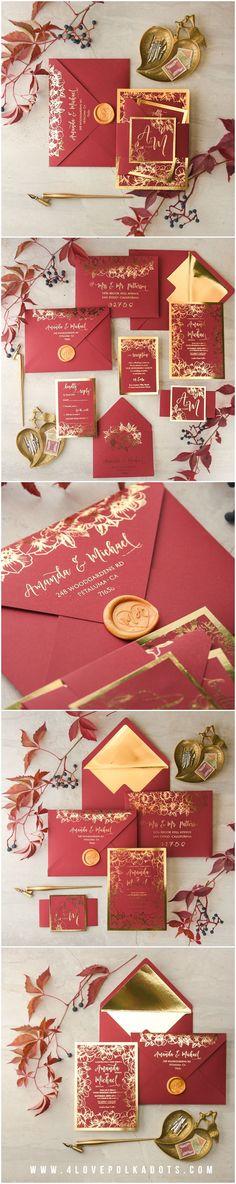 Marsala & Gold Wedding Invitations - Gold foil printing, wax stamping #marsalawedding #redwine #red #deepred #elegant #glamorous #gold