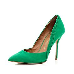 Green contrast panel pointed court shoes - heels - shoes / boots - women